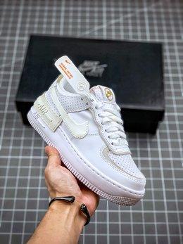 图1_终端放店Air Force 1 Shadow 灰白拼接轻量增高低帮百搭板鞋