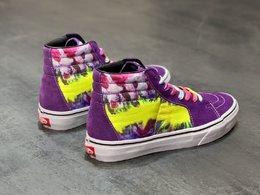图3_Vans SK8 Hi 多色扎染涂鸦紫色高帮男女硫化帆布板鞋 Size 35 36 36 5 37 38 38 5 39 40 40 5 41 42 42 5 43 44 工艺 硫化1 1 重量1 1 真标 原钢印 材质标 鞋型标 合格证