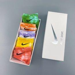 图1_一盒5双 Nike 耐克彩色扎染潮牌 对勾短袜 ins同款超火 扎染色对勾情侣款袜子混色短袜 均码