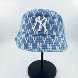 图2_韩国MLB 泫雅明星同款牛仔满印做旧渔夫帽 新款满标NY老花软顶遮阳帽 鸭舌帽 平顶盆帽 颜色 做旧牛仔蓝 渔夫帽